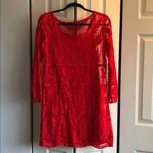 Express L red lace dress
